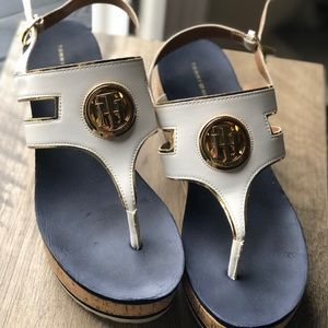 Tommy Hilfiger White Wedge Sandals.  Like new!